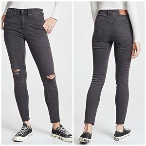 MADEWELL black distressed high rise skinny jean